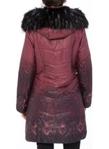 Longline Print Padded Coat Red - Gallery Image 3