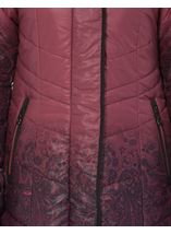 Longline Print Padded Coat Red - Gallery Image 4