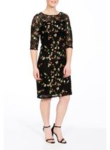 Embroidered Lace Fitted Midi Dress Black/Multi - Gallery Image 1