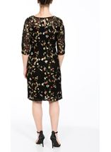 Embroidered Lace Fitted Midi Dress Black/Multi - Gallery Image 2