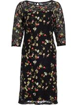 Embroidered Lace Fitted Midi Dress Black/Multi - Gallery Image 3