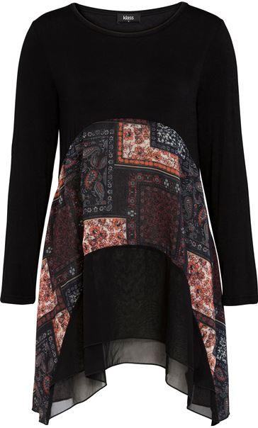 Georgette And Jersey Dip Hem Tunic Black/Multi