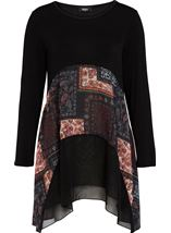 Georgette And Jersey Dip Hem Tunic Black/Multi - Gallery Image 1