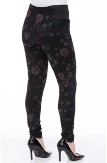 Floral Ponte Pull On Fitted Trousers
