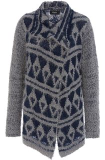 Patterned Open Front Knit Cardigan