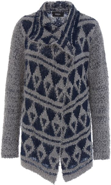 Pattered Chunky Knit Open Cardigan Navy/Grey