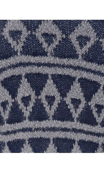Pattered Chunky Knit Open Cardigan Navy/Grey - Gallery Image 4