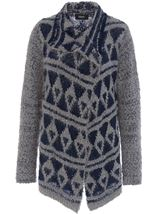 Pattered Chunky Knit Open Cardigan Navy/Grey - Gallery Image 1