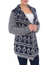 Pattered Chunky Knit Open Cardigan Navy/Grey - Gallery Image 2