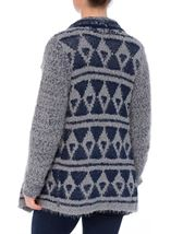 Pattered Chunky Knit Open Cardigan Navy/Grey - Gallery Image 3