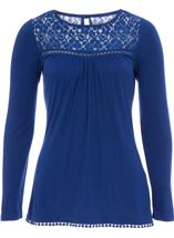 Long Sleeve Lace Trim Jersey Top Electric Blue - Gallery Image 1