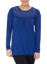 Long Sleeve Lace Trim Jersey Top Electric Blue - Gallery Image 2