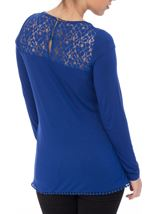 Long Sleeve Lace Trim Jersey Top Electric Blue - Gallery Image 3