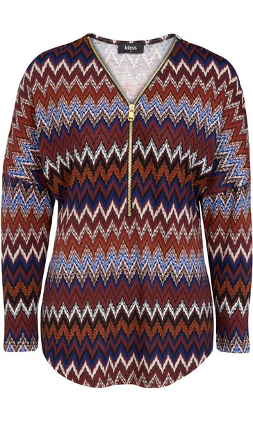 Long Sleeve Zigzag Print Zip Top Blue/Brown