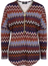 Long Sleeve Zigzag Print Zip Top Blue/Brown - Gallery Image 1