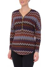 Long Sleeve Zigzag Print Zip Top Blue/Brown - Gallery Image 2