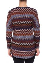 Long Sleeve Zigzag Print Zip Top Blue/Brown - Gallery Image 3