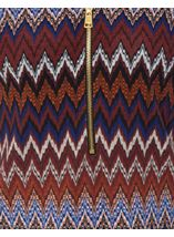 Long Sleeve Zigzag Print Zip Top Blue/Brown - Gallery Image 4