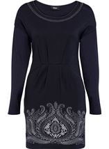 Embroidered Boat Neck Knit Tunic Navy - Gallery Image 1