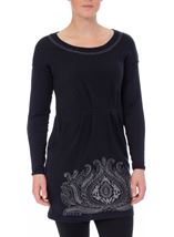 Embroidered Boat Neck Knit Tunic Navy - Gallery Image 2