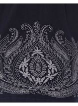 Embroidered Boat Neck Knit Tunic Navy - Gallery Image 4