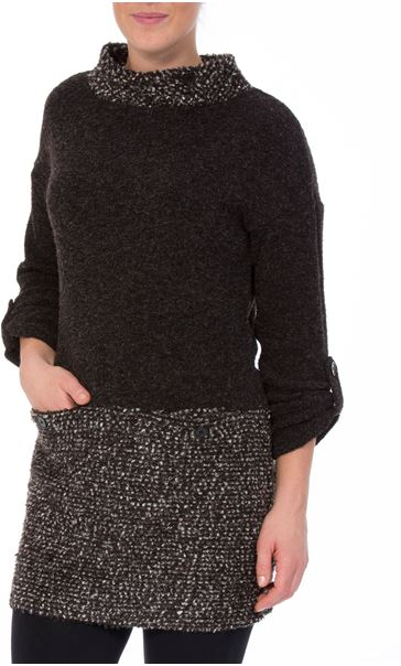 Long Sleeve Textured Knit Tunic Charcoal