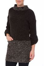 Long Sleeve Textured Knit Tunic Charcoal - Gallery Image 1