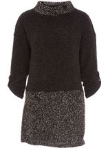 Long Sleeve Textured Knit Tunic Charcoal - Gallery Image 4