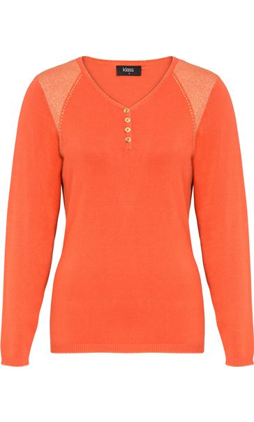 Lurex Trim V Neck Knit Top Tangerine