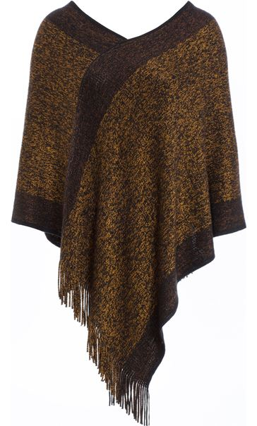 Fringed Knit Cape Black/Bronze