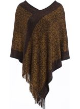 Fringed Knit Cape Black/Bronze - Gallery Image 1