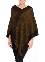 Fringed Knit Cape Black/Bronze - Gallery Image 2