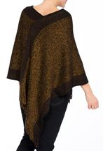 Fringed Knit Cape Black/Bronze - Gallery Image 3