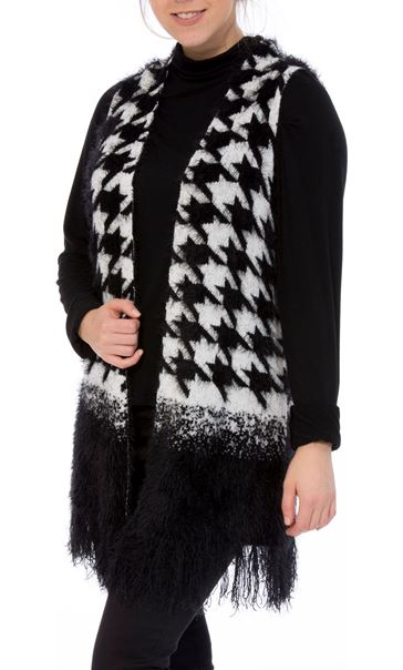 Dogtooth Eyelash Knitted Waistcoat Black/White