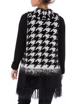 Dogtooth Eyelash Knitted Waistcoat Black/White - Gallery Image 2