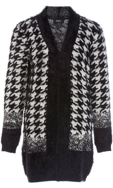 Eyelash Knit Hounds Tooth Open Cardigan Black/White