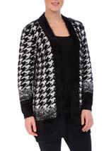 Eyelash Knit Hounds Tooth Open Cardigan Black/White - Gallery Image 2