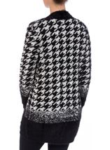 Eyelash Knit Hounds Tooth Open Cardigan Black/White - Gallery Image 3