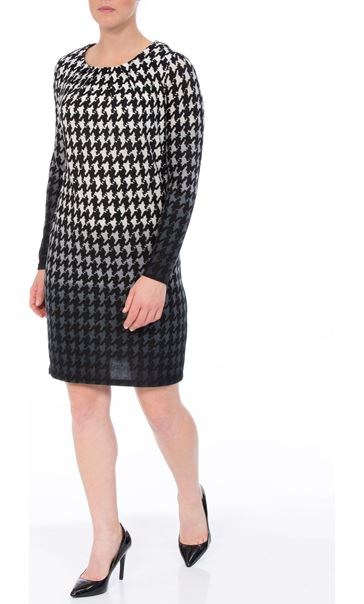 Brushed Dogtooth Knitted Tunic Black/White