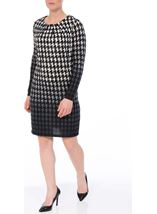 Brushed Dogtooth Knitted Tunic Black/White - Gallery Image 1
