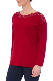 Long Sleeve Embellished Neck Knit Top - Red