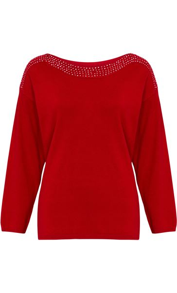 Long Sleeve Embellished Neck Knit Top Red