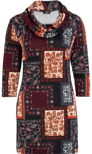 Tile Print Brushed Knit Tunic Black/Red