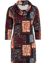 Tile Print Brushed Knit Tunic Black/Red - Gallery Image 1