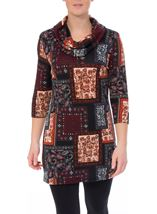 Tile Print Brushed Knit Tunic Black/Red - Gallery Image 2