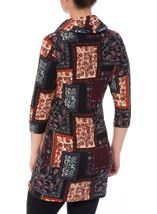 Tile Print Brushed Knit Tunic Black/Red - Gallery Image 3