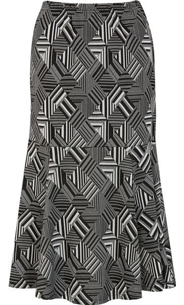 Fit And Flare Pull On Patterned Midi Skirt Grey