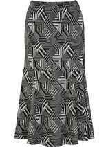 Fit And Flare Pull On Patterned Midi Skirt Grey - Gallery Image 1
