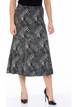Fit And Flare Pull On Patterned Midi Skirt Grey - Gallery Image 2
