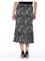 Fit And Flare Pull On Patterned Midi Skirt Grey - Gallery Image 3